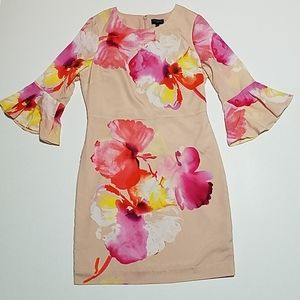 The Limited blush with watercolors sheath dress
